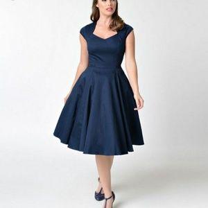 🆕 Navy blue retro style swing dress